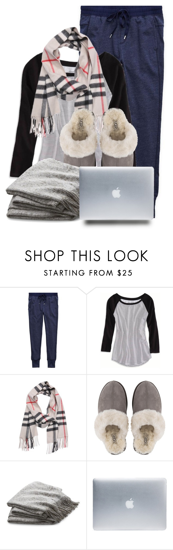 """""""Cozy Day Working from Home"""" by jlgoodman ❤ liked on Polyvore featuring Aerie, American Eagle Outfitters, Burberry, UGG, Crate and Barrel and Incase"""
