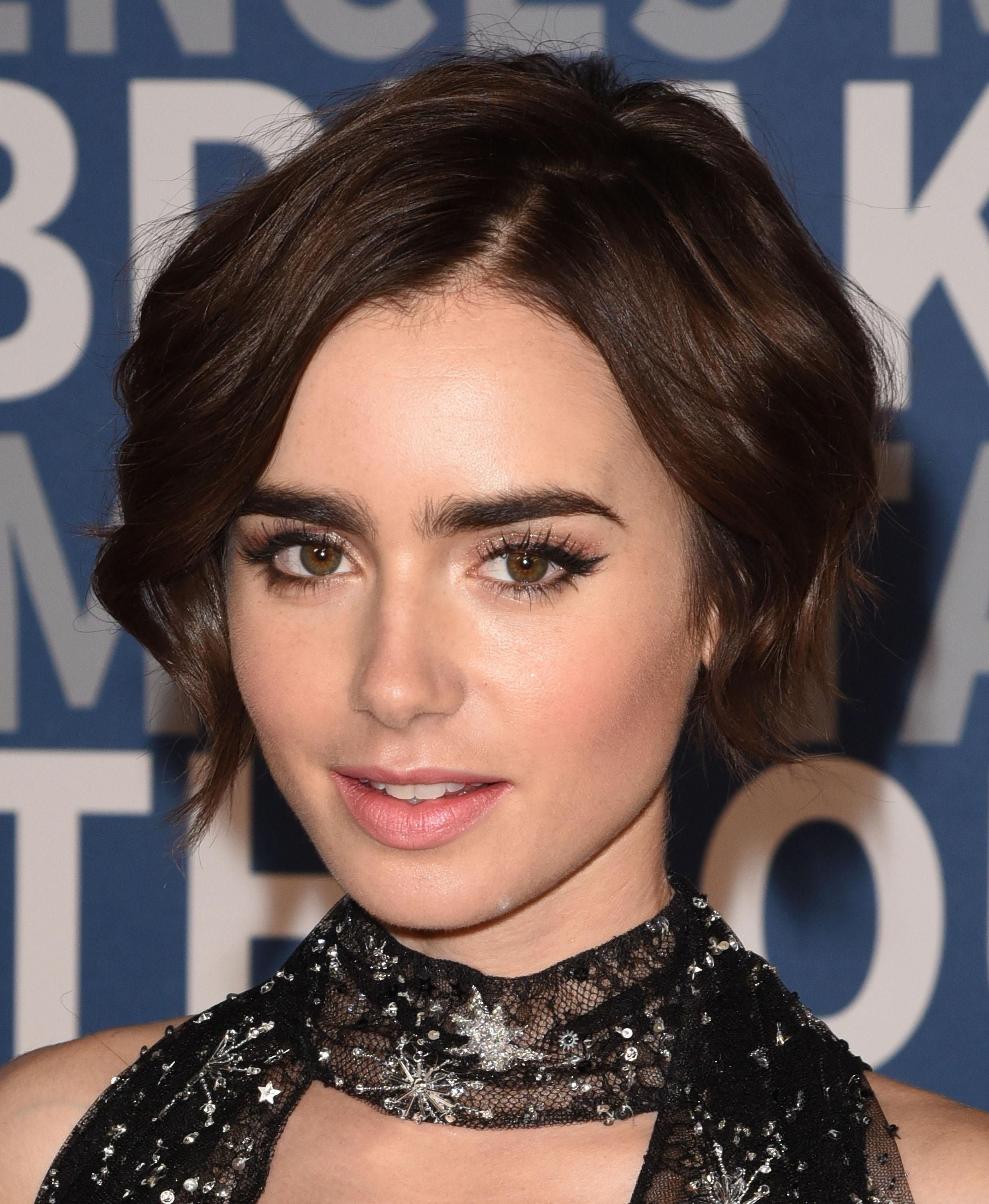 The 25 Best Thick Eyebrows In Hollywood And How To Get Them Lily Collins Eyebrows Short Hair Haircuts Hair Makeup