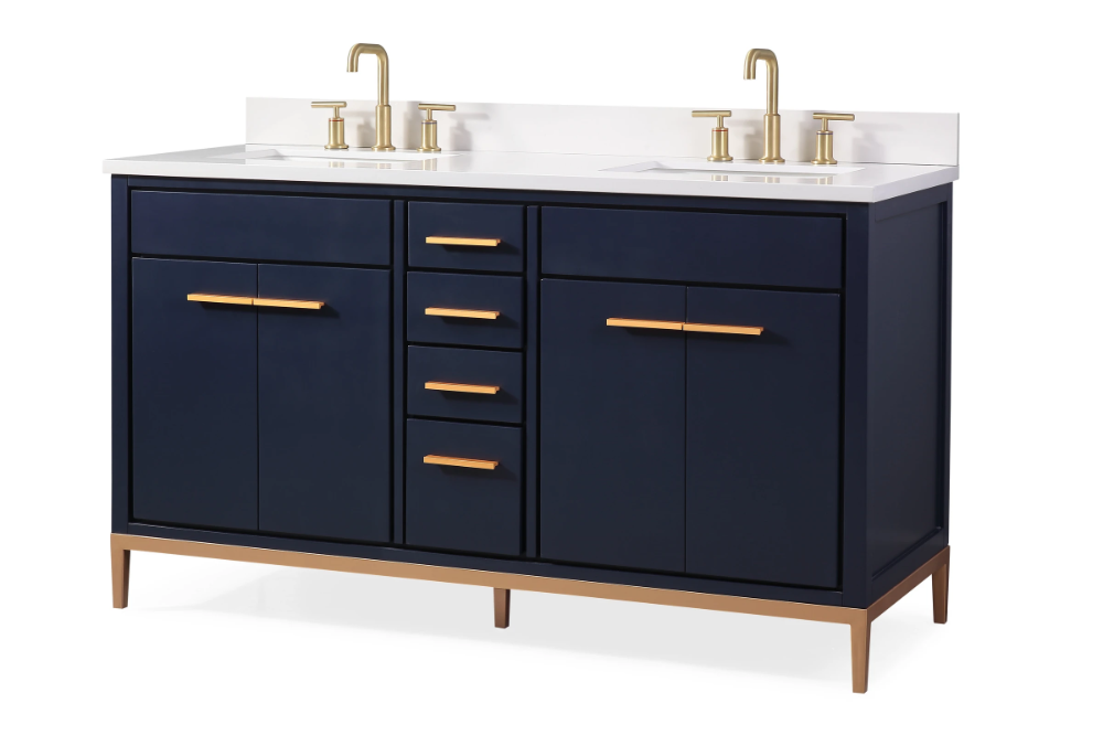 60 Tennant Brand Modern Style Navy Blue Beatrice Double Sink Bathroom Vanity Tb 9444 D60nb In 2020 Double Sink Bathroom Bathroom Sink Vanity Vanity