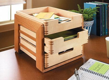 Identical trays make this stylish desk organizer go together quickly. But the joinery lets you show off your woodworking skills. #woodworkingchair #WoodworkingForKids #woodworkingprojectschair