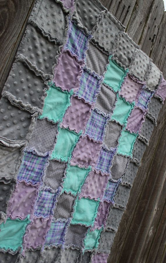Purple Mint Grey Baby Blanket I Would Lose The Grey But