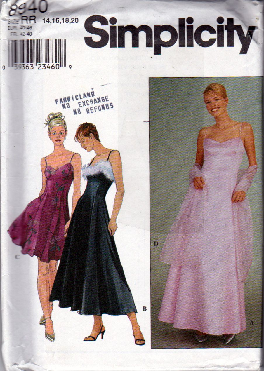 Simplicity 8940 misses evening dress and wrap sewing pattern simplicity 8940 misses evening dress and wrap sewing pattern misses sizes 14 16 jeuxipadfo Choice Image