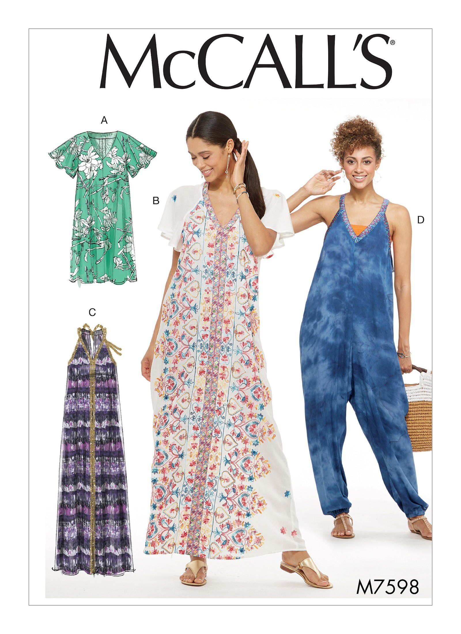 07caee2793 Purchase McCall s 7598 Misses  Very Loose-Fitting Dresses and Jumpsuit with  Center Detail and read its pattern reviews. Find other Dresses