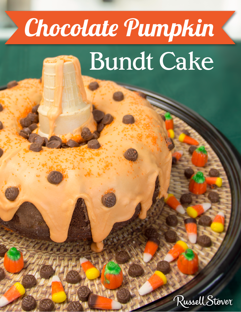 dress up your bundt cake this halloween! pour orange icing on top