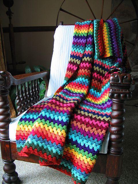 granny stripe love the colors blanket decken pinterest decken h keln und handarbeiten. Black Bedroom Furniture Sets. Home Design Ideas