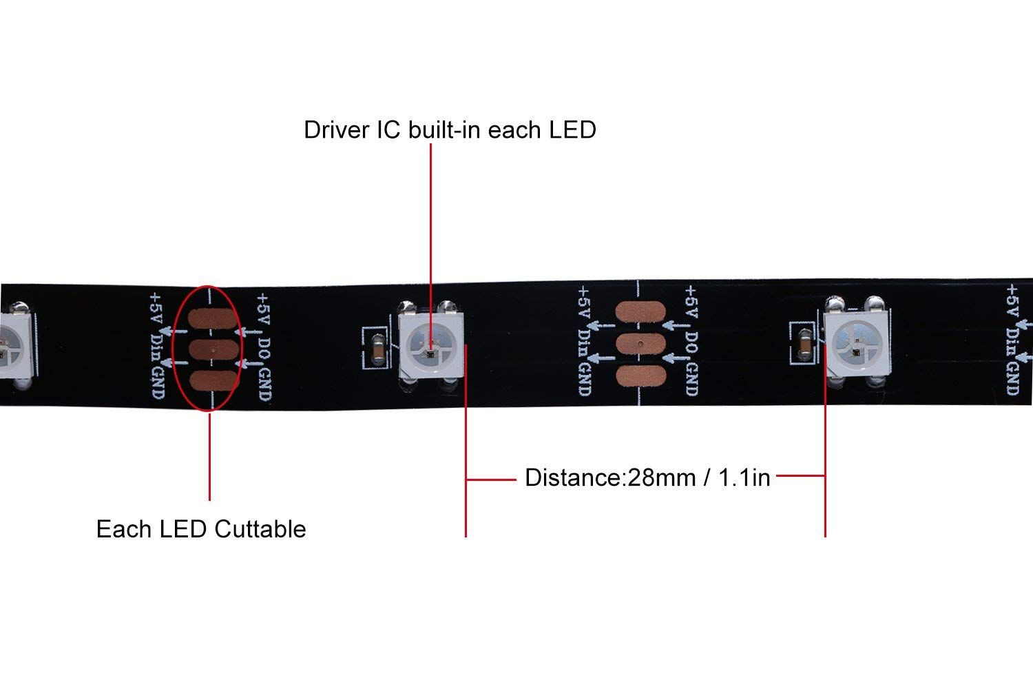 Hjhx Ws2812b Led Strip 164ft 300leds Individually Addressable Driver Circuit Light Smd5050 Rgb Magic Color Flexible Rope Lights Non Waterproof