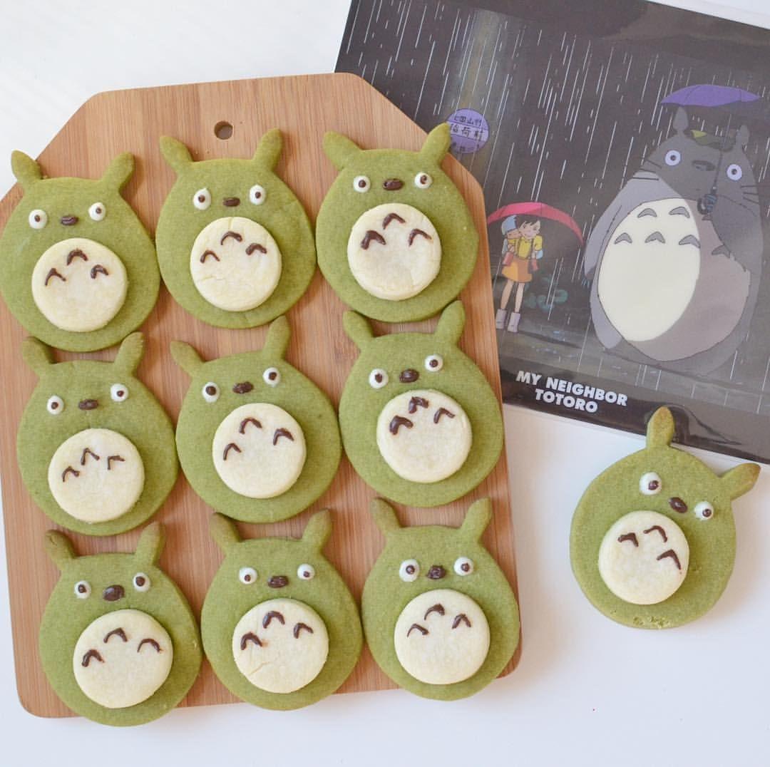 Totoro となりのトトロ cookies  #Matcha #greentea #shortbread #cookies #baking #totoro #studioghibli #miyazaki #myneighbortotoro #となりのトトロ #トトロ #totoroweek