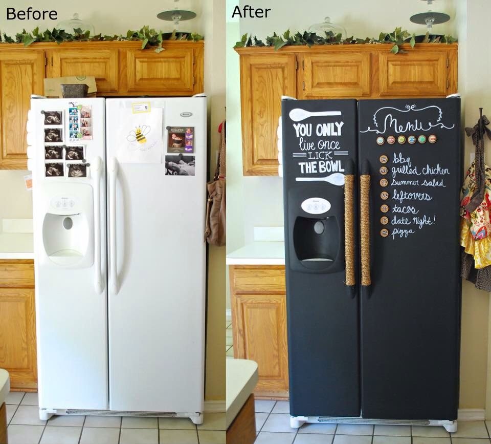 Diy Chalk Board Fridge Fridge Makeover Painted Fridge Chalkboard Fridge