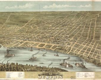 Map of Memphis TN 1870 Bird s Eye View