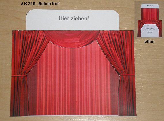 Invitation Greeting Card Theater Cinema musical Red #kinogutscheinbasteln