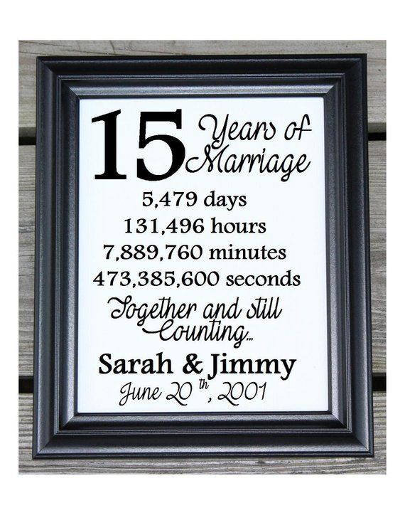 15th Wedding Anniversary Cotton Print 15th Wedding Gift 15 Years