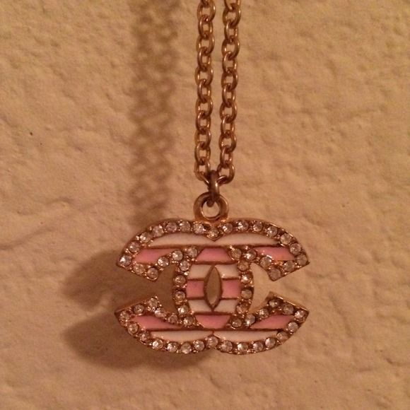 """BUNDLEDGold Double """"C"""" Chain Necklace  Pink & white horizontally striped rhinestone double c necklace with long gold chain & lobster clasp. Back of the """"cc"""" pendant has a cute heart pattern engraved in the metal, as shown in the last picture. Bought in NYC. Worn once; perfect condition! Jewelry Necklaces"""
