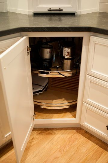 Starmark Cabinetry Diagonal Lazy Susan With Chrome Wood Turntables Kitchen Designed By Linda M
