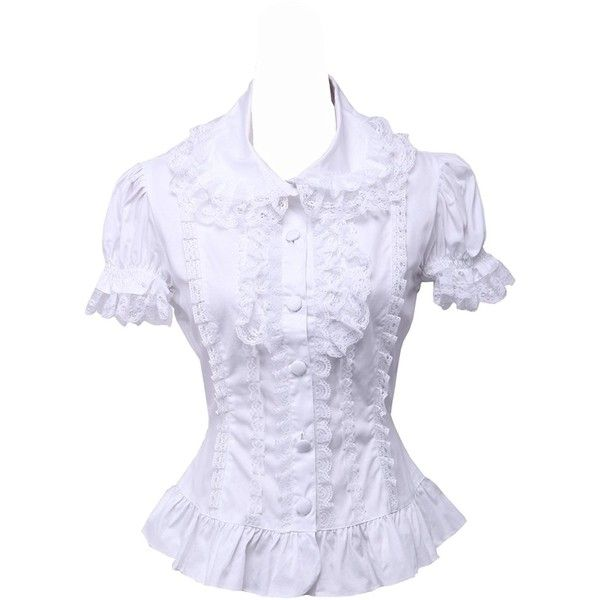 9133d2066b240a antaina White Cotton Lace Ruffle Puff Vintage Victorian Lolita Shirt...  ($84) ❤ liked on Polyvore featuring tops, blouses, white ruffle shirt, shirt  blouse ...