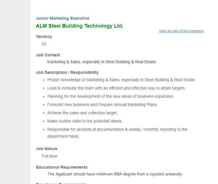Alm Steel Building Technology Ltd  Junior Marketing Executive