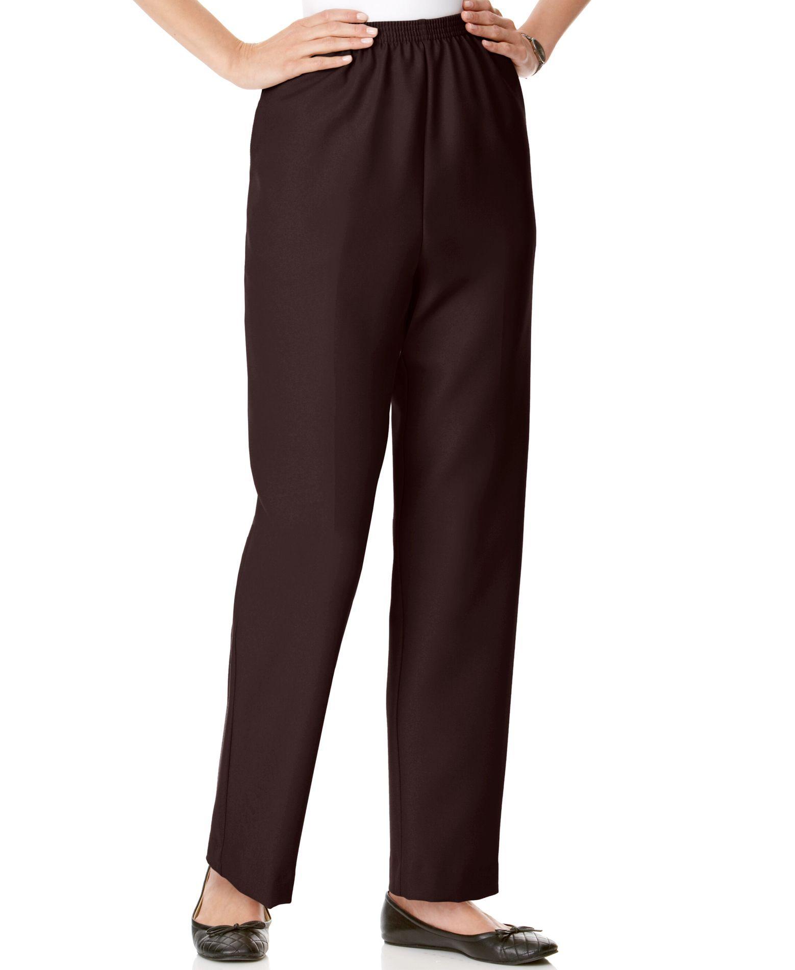 f2434159e30f7 Petite Pull-On Straight-Leg Pants