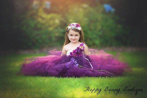 Plum and Ivory Tutu Dress: Flower Girl by FloppyBunnyBoutique