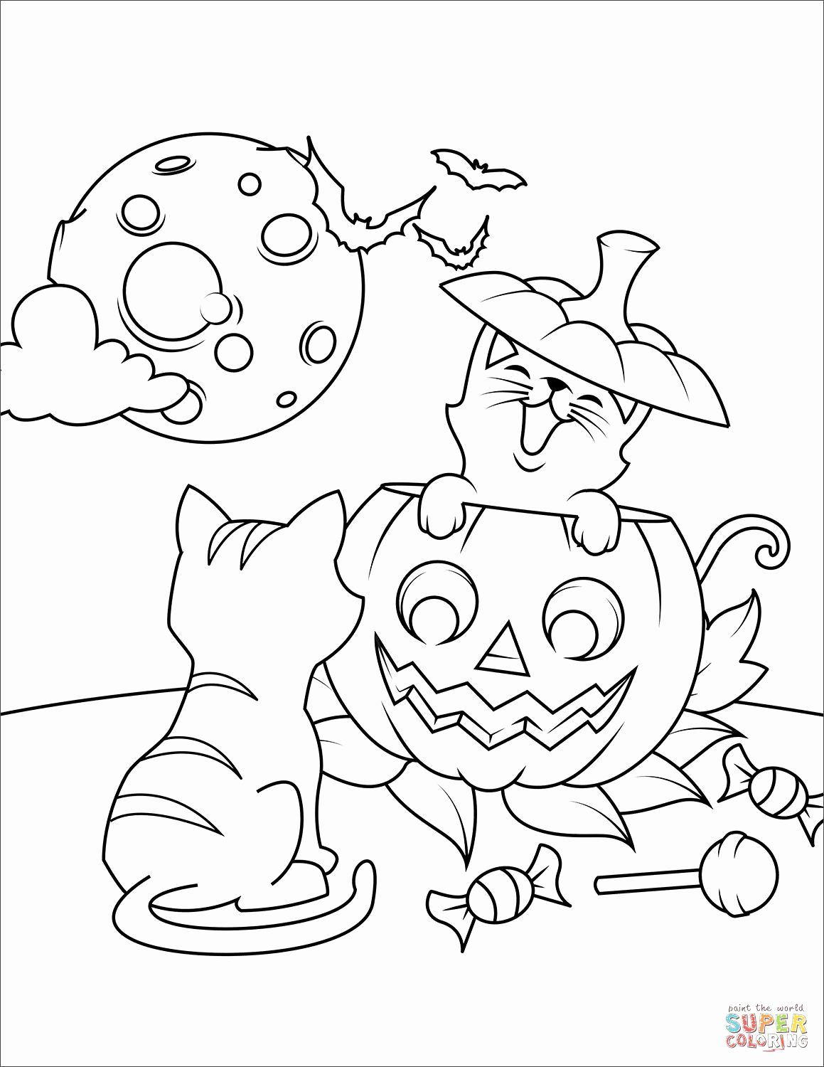 Kids Coloring Pages Jack O'lantern and Cat in 2020