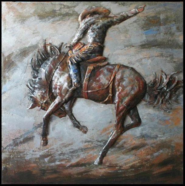 Metal Horse Wall Art 3d steel wall art - painting on metal bucking horse | steel wall