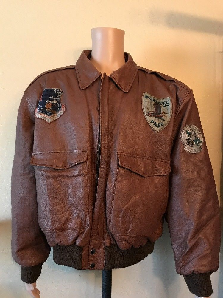 204d24af7b9 Vintage Patches Pilot Flyers Leather Jacket Type A2 FRONTLINE Bomber Mens  Large  Frontline  FlightBomber
