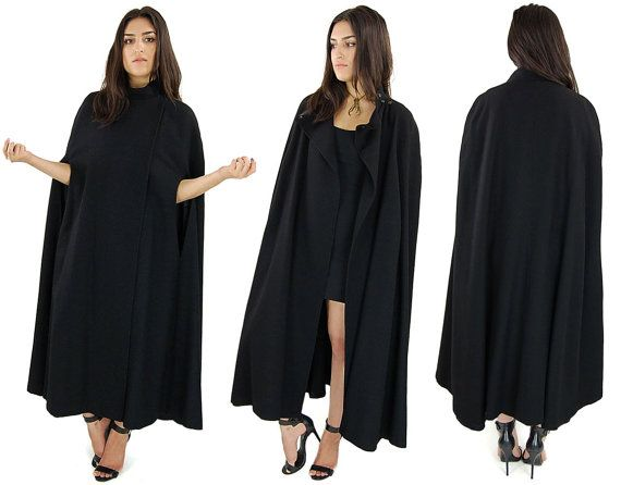 Vintage Black WITCHY Wool High Collar GOTHIC Long Cloak Cape Coat ...