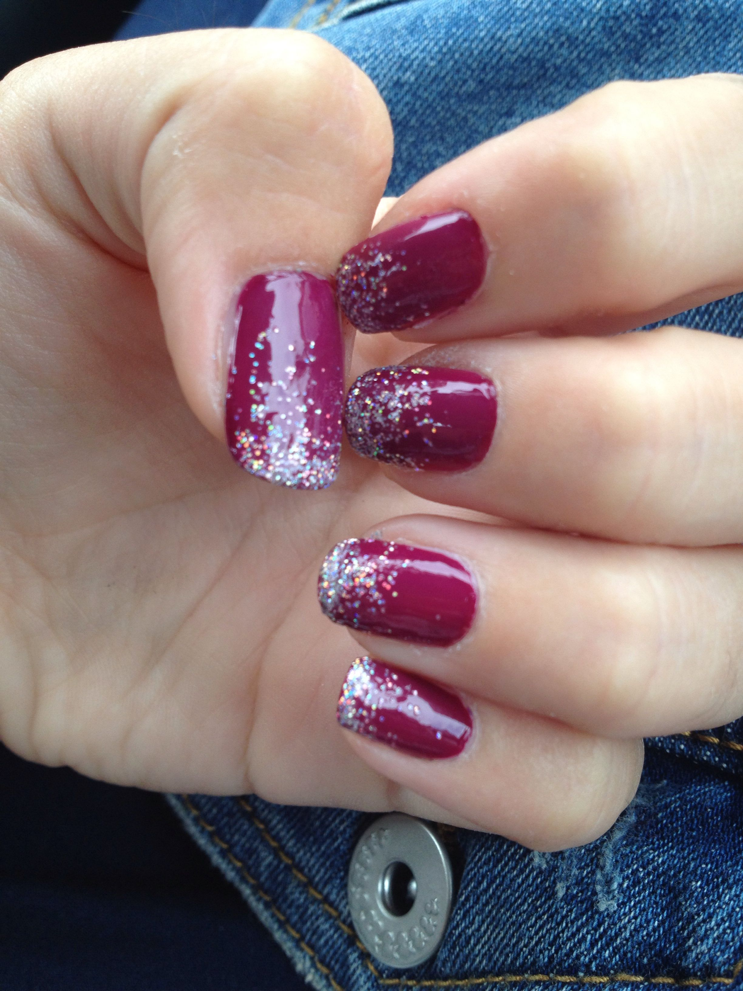 Purple&glitter nails