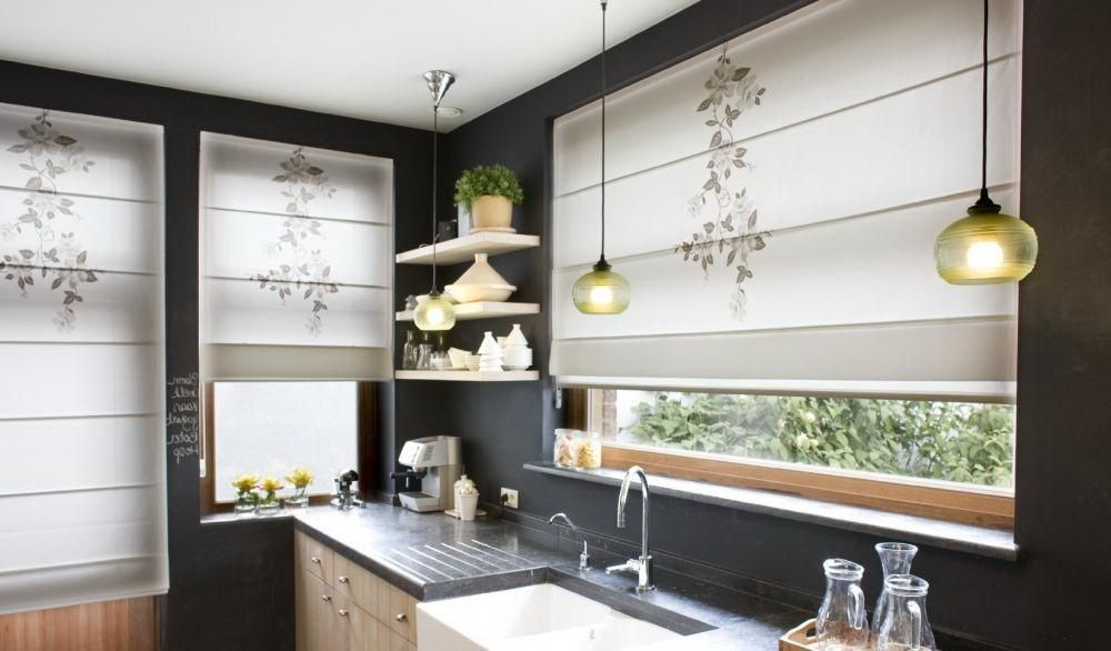 Modern Kitchen Curtains Trend For Window Blinds With Beautiful Fl