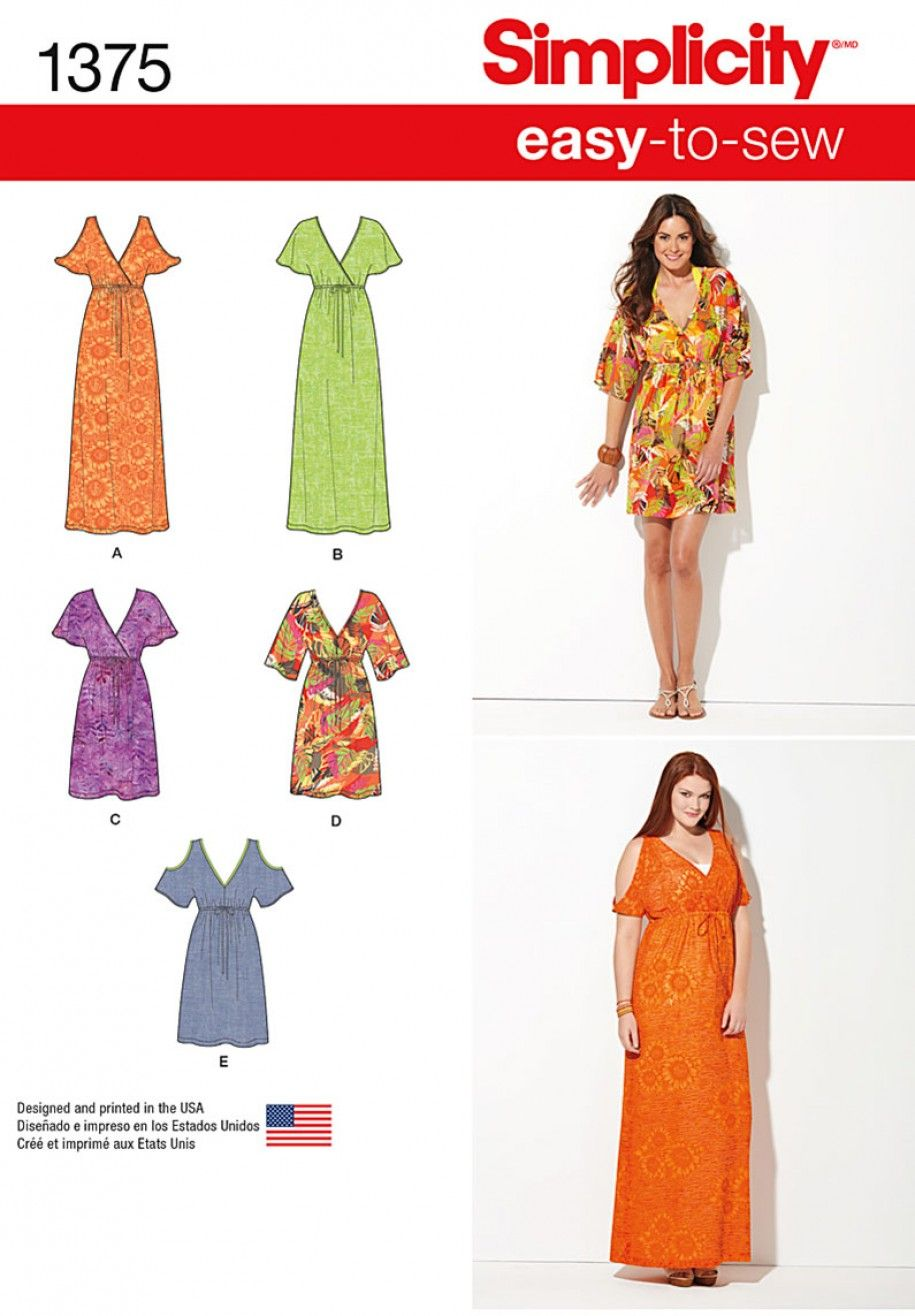 Simplicity 1375 Misses\' Easy to Sew Pullover Dresses Sewing Pattern ...