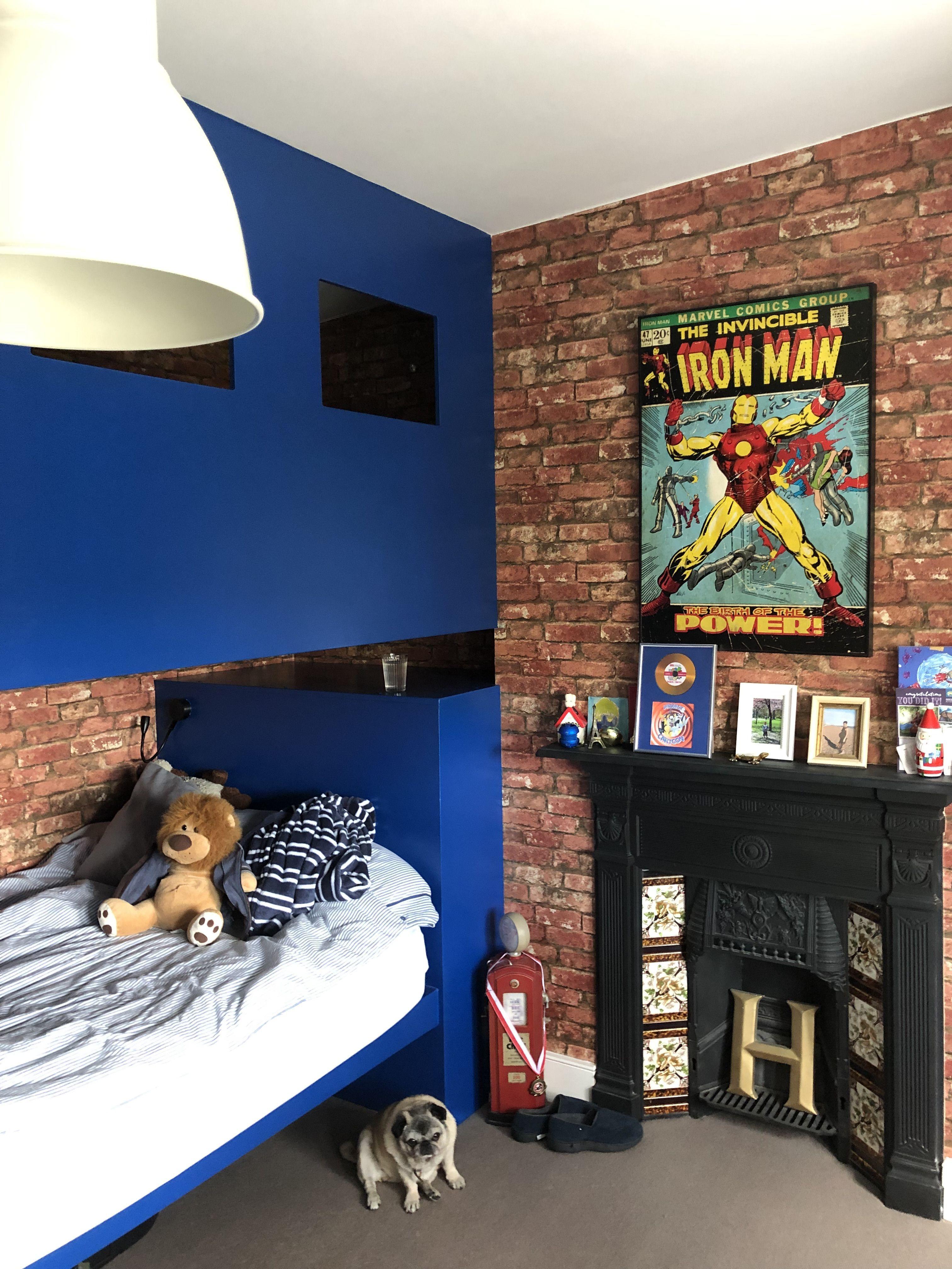 Best Boys Room With Bespoke Bunk Bed Brick Wallpaper Pug 400 x 300