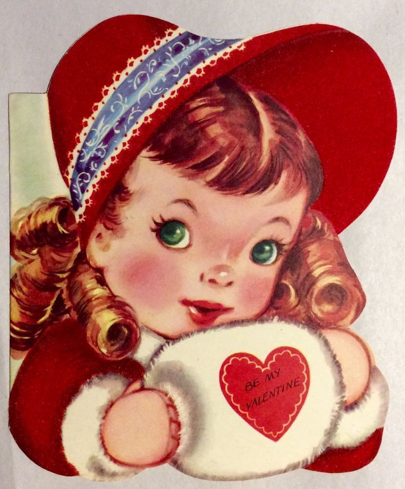 Pretty little girl red flocked bonnet muff vintage valentines day collectible vintage greeting cards ebay m4hsunfo Images