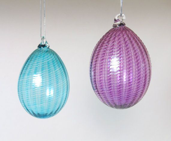 Purple Glass Egg Ornament / Hand Blown / Holiday by AvolieGlass
