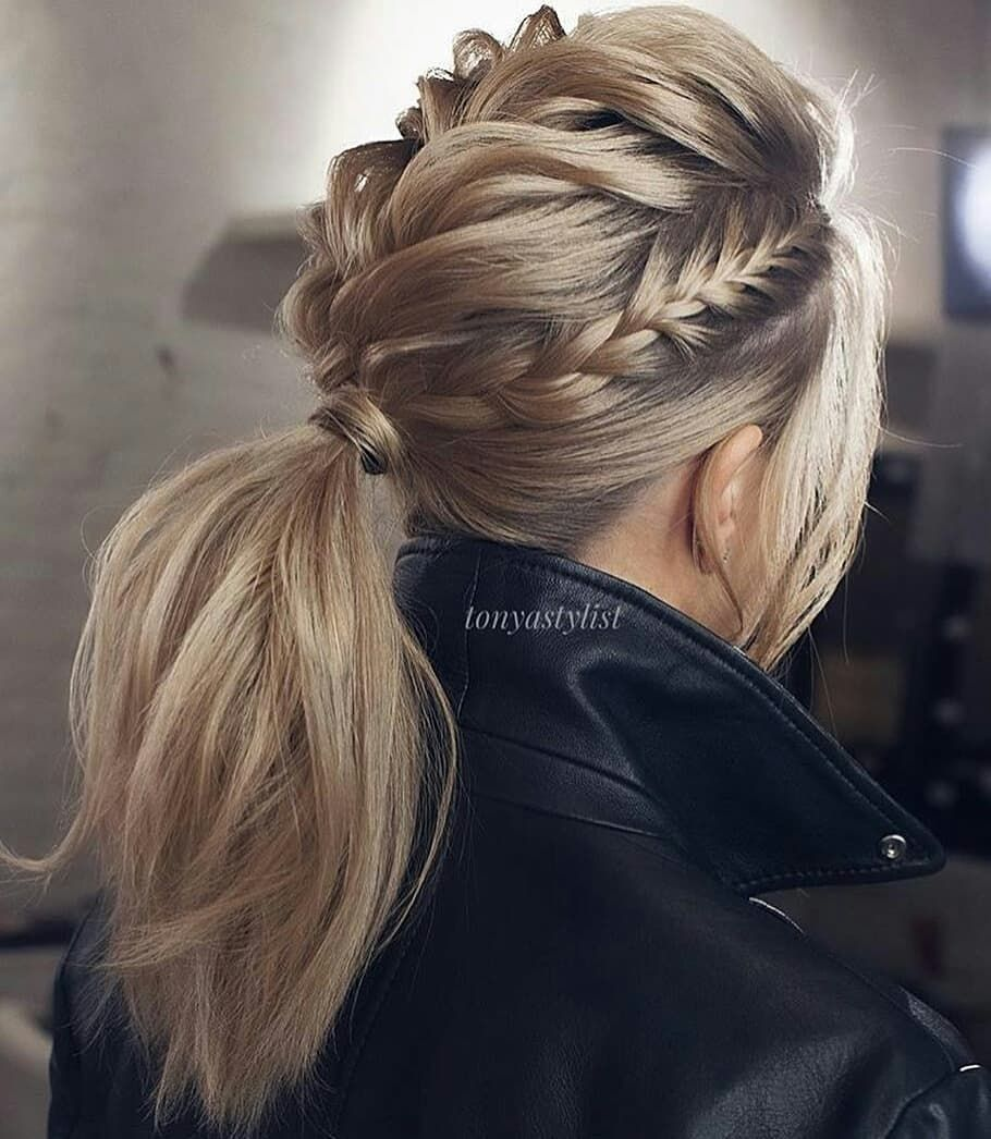 Pin by zoe ruddick on hair styles pinterest leather ponytail