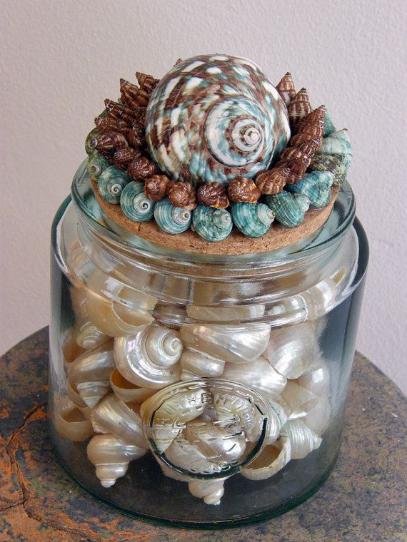 Large Recycled Glass Jar with seashells top by seashellgalleria