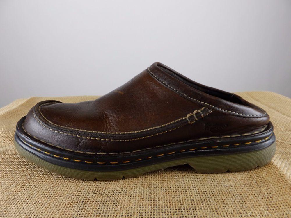 1b0ad4520e997 DR MARTENS Brown Leather Slip On Clog Loafer Shoe Men 7 EU 38 #DrMartens  #Clogs