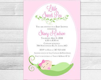 Little Sweet Pea Baby Shower Invitation Girl Baby By 2birdstudios