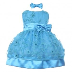 Little Girls Turquoise Sequin Sleeveless Floral Embroidery Christmas Dress  2-4T 32797d447