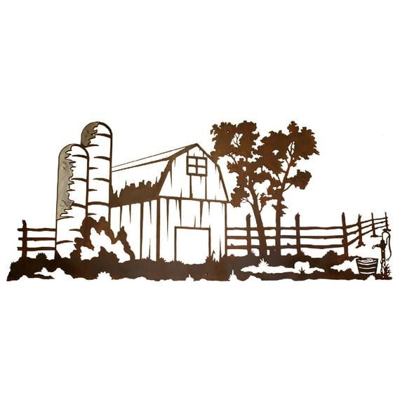 Rustic Barn Scene With Burnished highlights Steel Wall Art ...