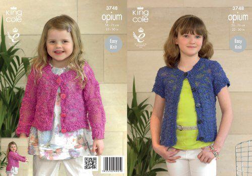 1bb3f5c28 King Cole Girls Knitting Pattern Kids Opium Easy Knit Lon...