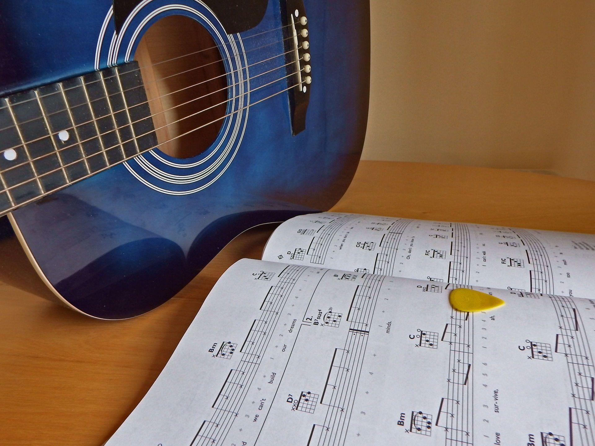 guitarra, partitura, notas, cuerdas, púa, 1708262052 | Fondos de ...