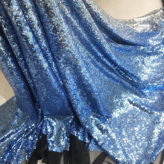 Silver Ombre Tulle Fabric, Light Blue Sequins Ombre Lace Fabric, Evening Dress Fabric, Bridesmaids Dress Fabric