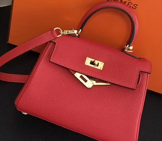 2018 Hermes Clemence Leather Kelly 20cm Mini Bag RED Hermes Birkin 32b6c758cacd6