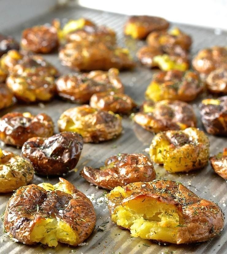 Dilly Smashed Baby Potatoes With Creamy Horseradish Dipping Sauce Recipe Roasted Baby Potatoes Baby Potatoes Real Food Recipes