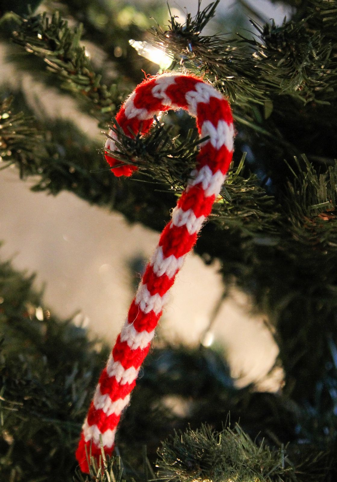 Free Knitting Pattern for Candy Cane Ornament | Knitting | Pinterest ...