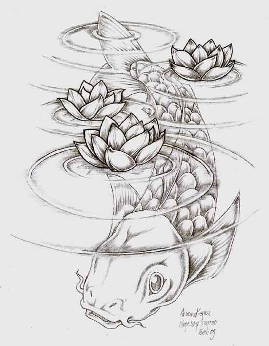 Koi under water i want this starting on my hip and going for Koi fish pond drawing