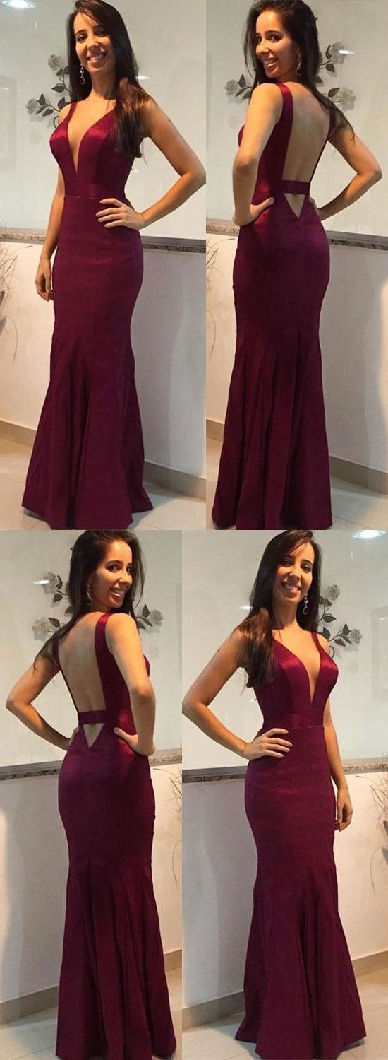 Charming v neck mermaid open back burgundy long prom dresses formal