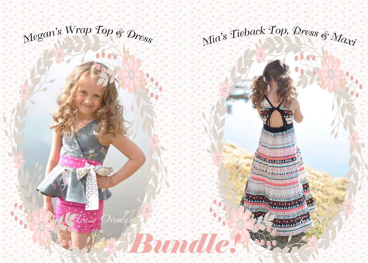 Bundle meganus wrap top u dress and miaus tieback top dress and