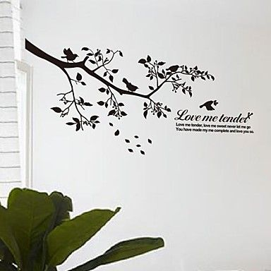 Wall Stickers Wall Decals, Modern The branches of the birds PVC Wall Stickers - GBP £ 15.17