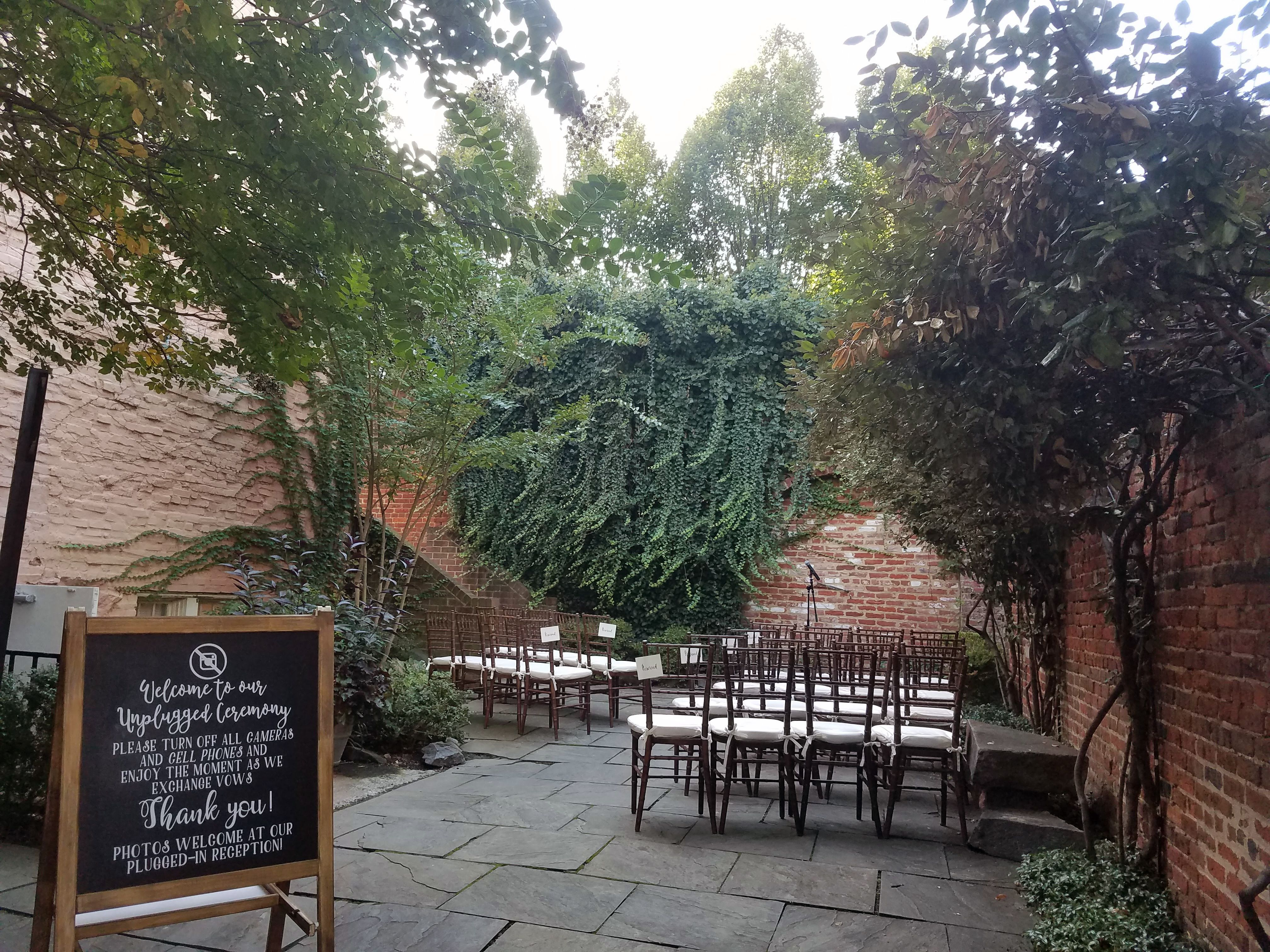 The Athenaeum's courtyard all set up before a wedding ...