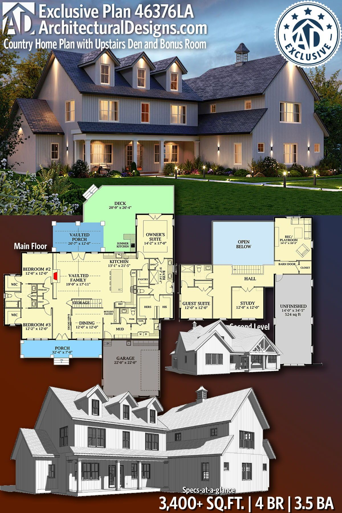 Plan 46376la Country Farmhouse Plan With Upstairs Den And Bonus Room Country House Plans Farmhouse Plans House Plans Farmhouse
