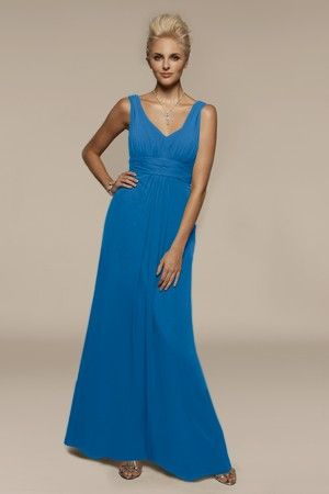 Liz Field solid chiffon bridesmaid dress.